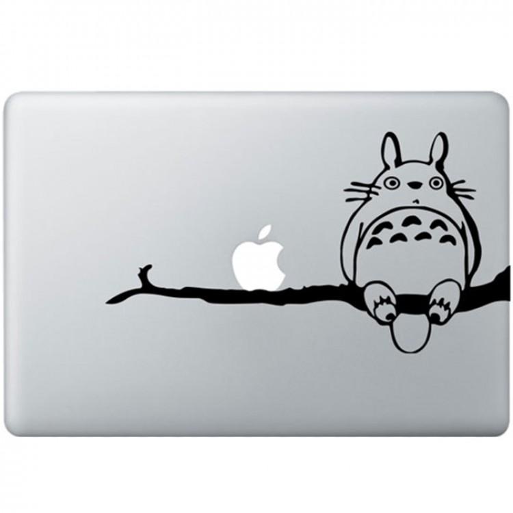 Totoro in einem Baum MacBook Aufkleber Schwarz MacBook Aufkleber