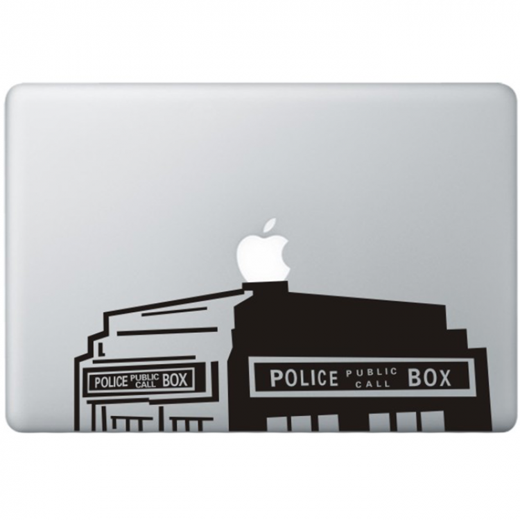 Dr. Who The Tardis (2) MacBook Aufkleber Schwarz MacBook Aufkleber