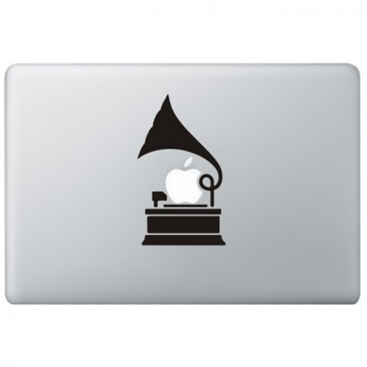 Grammofoon MacBook Sticker Schwarz MacBook Aufkleber
