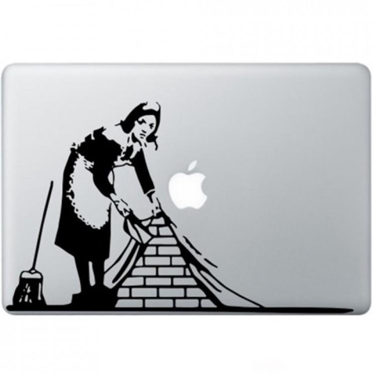 Banksy Dienstmädchen In London Macbook  Aufkleber   Schwarz MacBook Aufkleber