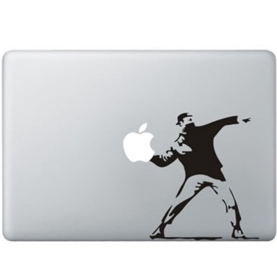 Banksy Throwing Flowers MacBook Aufkleber Schwarz MacBook Aufkleber